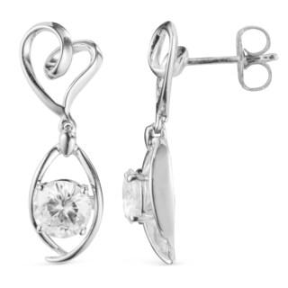 Charles & Colvard 14k White Gold 1.20 TGW Round Forever Brilliant Moissanite Drop Earrings