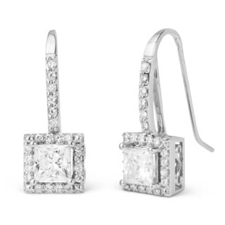 Charles & Colvard 14k White Gold 2.44 TGW Square Forever Brilliant Moissanite Leverback Earrings