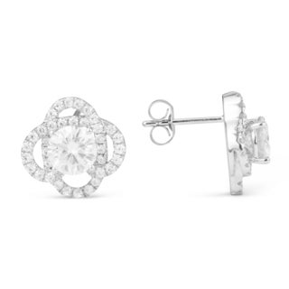 Charles & Colvard 14k White Gold 2.70 TGW Round Forever Brilliant Moissanite Fashion Earrings