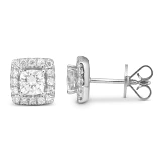Charles & Colvard 14k White Gold 1.32 TGW Cushion Forever Brilliant Moissanite Stud Earrings