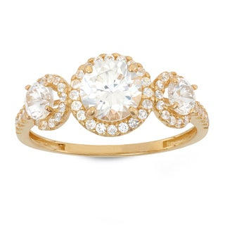 Gioelli 10K Gold 3 2/5ct Multi Round-cut CZ Pave Ring
