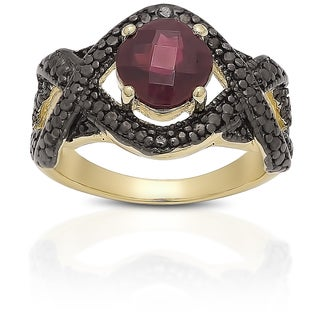 Dolce Giavonna Gold over Sterling Silver Garnet and Black Diamond Accent Ring