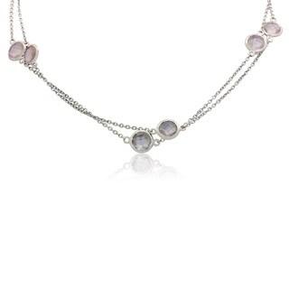 Sterling Silver Rose Quartz Station Necklace