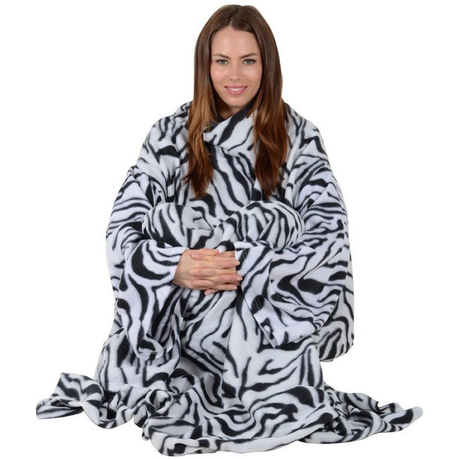 As Seen On TV Soft Fleece Sleeved Blanket (Zebra), Black