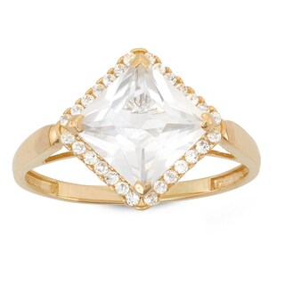 Gioelli 10K Gold 3 1/4ct Princess Cut Cubic Zirconia Pave Ring