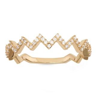 Gioelli 10K Gold Cubic Zirconia Zig Zag Ring