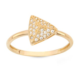Gioelli 10K Gold Cubic Zirconia Pave Pyramid Ring