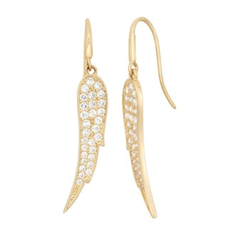 Gioelli 10KT Gold CZ Pave Angel's Wing Stud Earrings