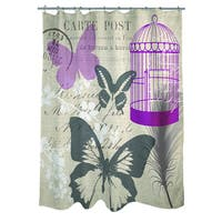 Butterfly Collage Burlap Shower Curtain
