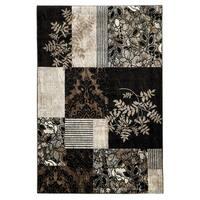 Linon Elegance Marble Black Rug (2' x 3')