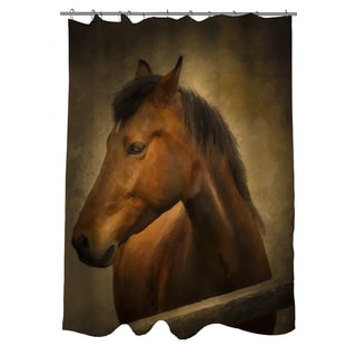 Chestnut Horse at Fence Shower Curtain