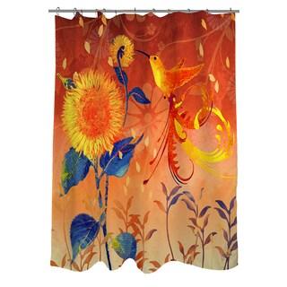 Daisy Hum Dark Shower Curtain
