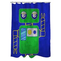 Neon Party Blue Robot Shower Curtain