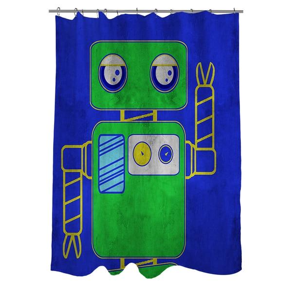 Thumbprintz Neon Party Blue Robot Shower Curtain - 17248492 ...