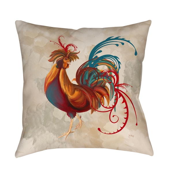 Teal Rooster II Decorative Throw Pillow