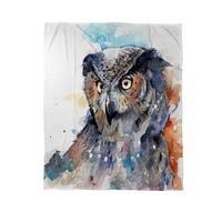 Horned Owl Coral Fleece Throw