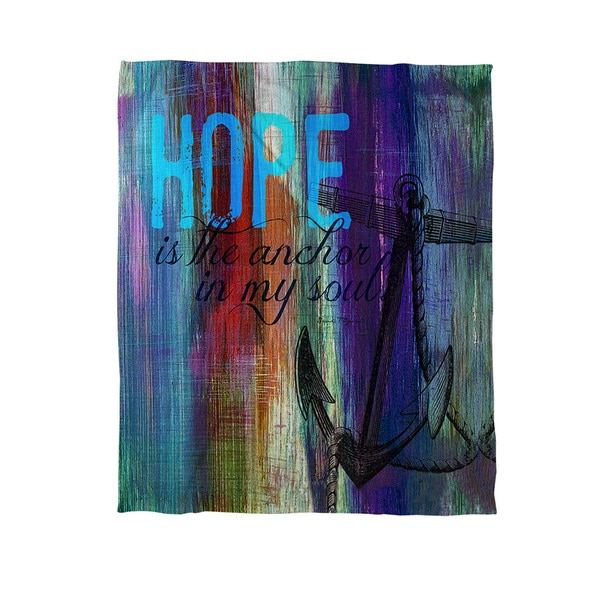 Hope is the Anchor Coral Fleece Throw