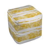 Summer Florals Yellow Stripe Pouf