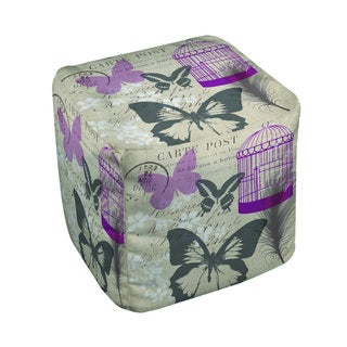 Butterfly Collage Burlap Pouf