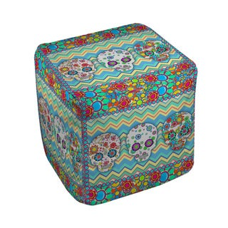 Thumbprintz Sugar Skull Chevron Box Pouf