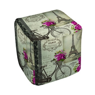 Thumbprintz Springtime in Paris Bicycle Pouf