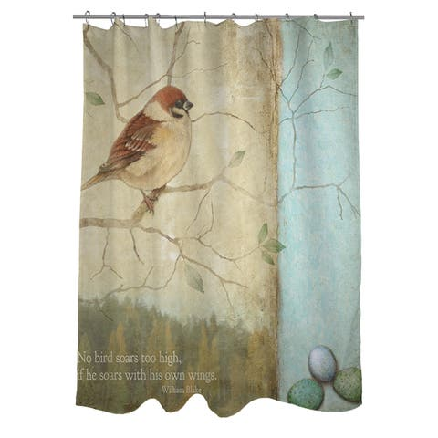 The Gray Barn Ivy Hollow Bird Quote Sparrow Shower Curtain - Beige