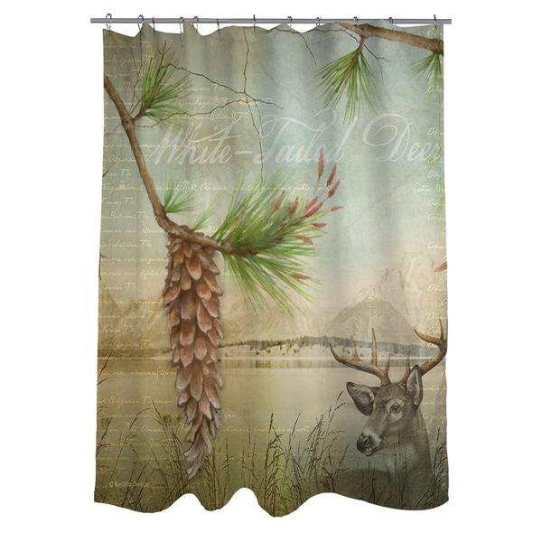 Conifer Lodge Deer Shower Curtain