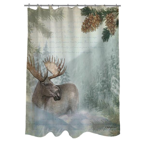 Conifer Lodge Moose Shower Curtain