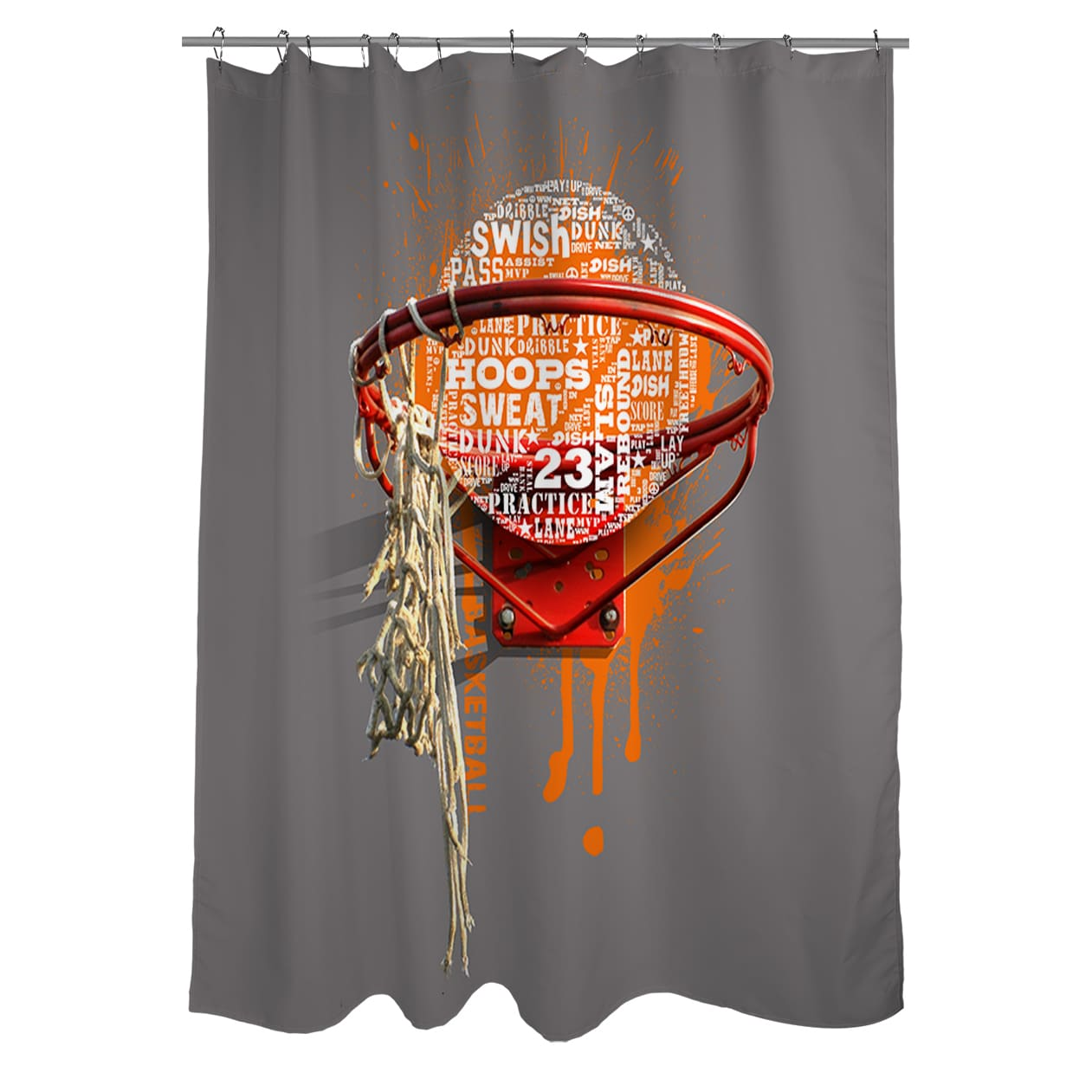 Sports Shower Curtain Basketball Tournament Print for Bathroom