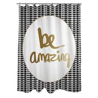 Be Amazing Black and Gold Shower Curtain