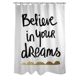 Thumbprintz Be Amazing Black And Gold Shower Curtain