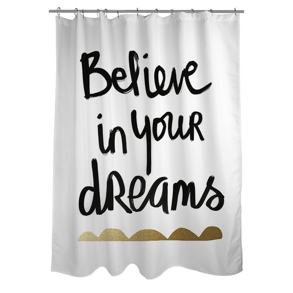 Believe White and Gold Shower Curtain