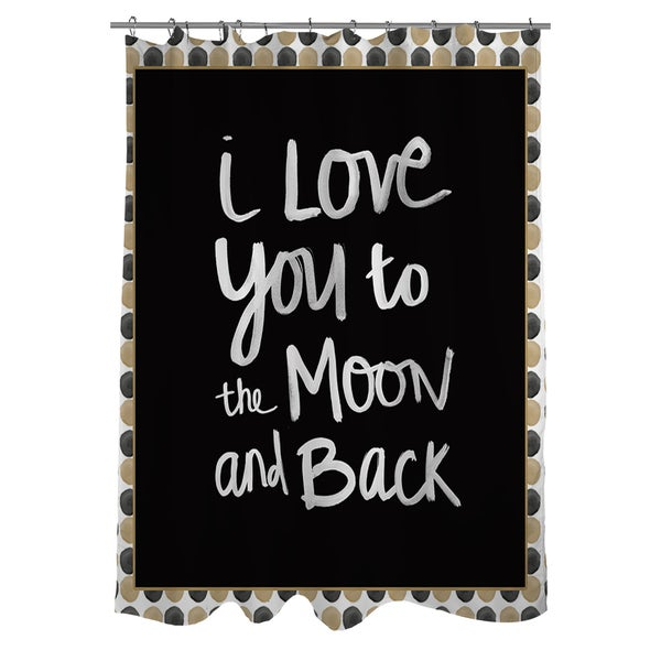 Moon Gold and Black Shower Curtain