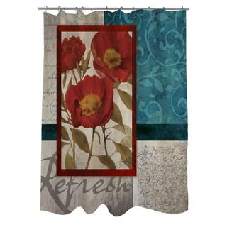 Red Botanicals I Shower Curtain