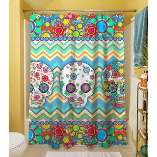 Thumbprintz Sugar Skull Chevron Box Shower Curtain