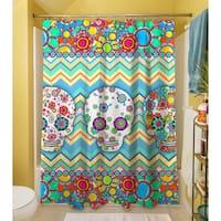 Sugar Skull Chevron Box Shower Curtain