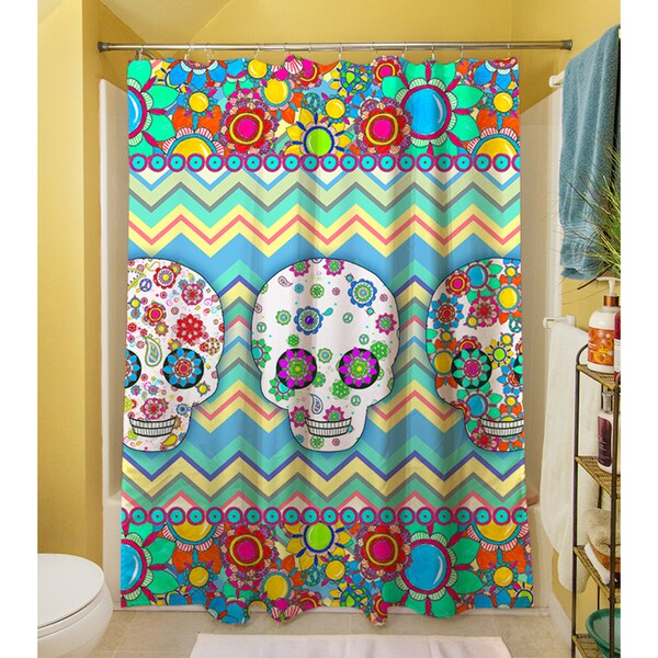 Shop Sugar Skull Chevron Box Shower Curtain