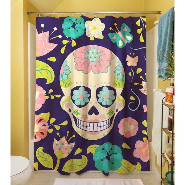 thumbprintz sugar skull shower curtain free shipping today 17248715. Black Bedroom Furniture Sets. Home Design Ideas