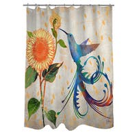 Daisy Hum Neutral Shower Curtain