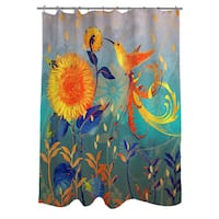 Daisy Hum Teal Shower Curtain