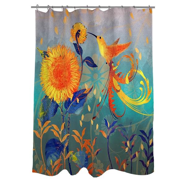 Daisy Hum Teal Shower Curtain