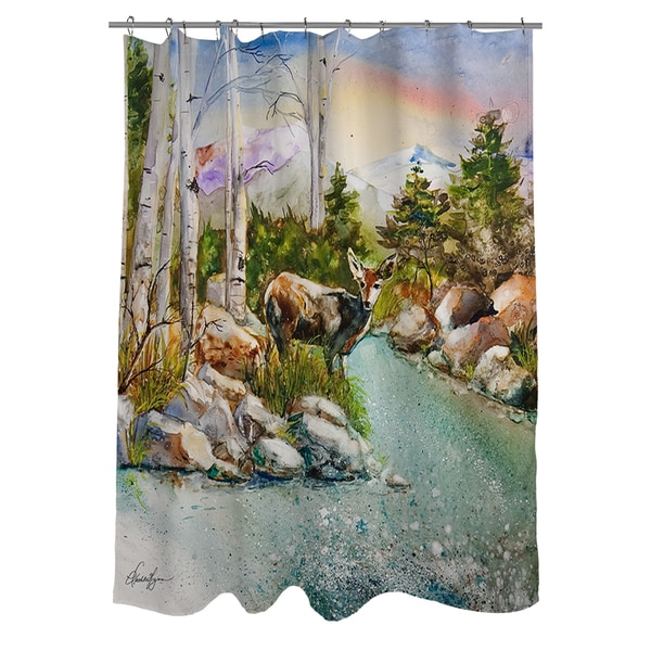 Fawn at Mountain Stream Shower Curtain