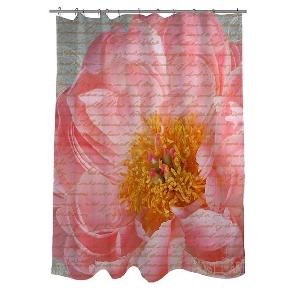 Pink Rose Cursive Shower Curtain