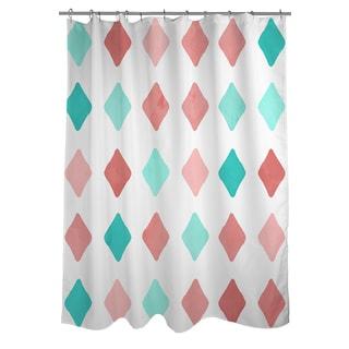 Marsala and Teal Diamonds Shower Curtain