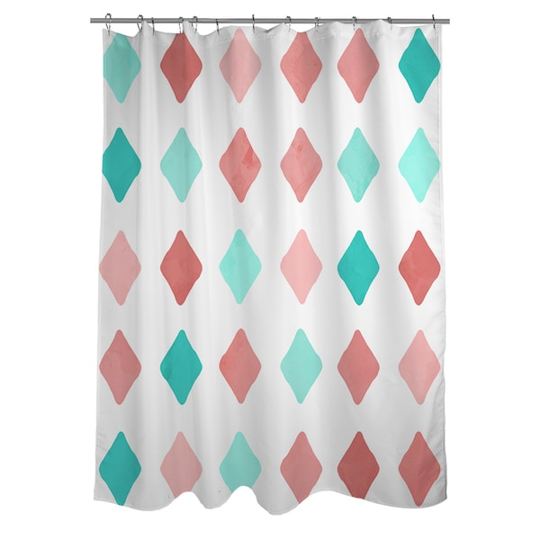 Marsala and Teal Diamonds Shower Curtain
