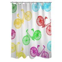 Neon Party Bike Pattern Shower Curtain