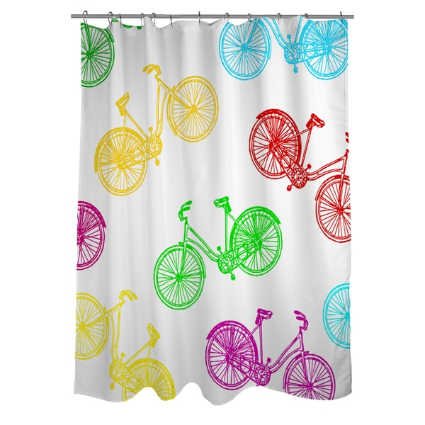 Neon Party Bike Pattern Shower Curtain