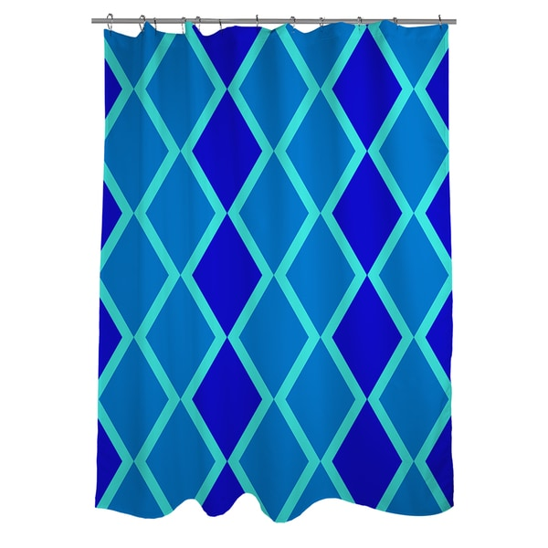 Neon Party Blue Geo Pattern Shower Curtain