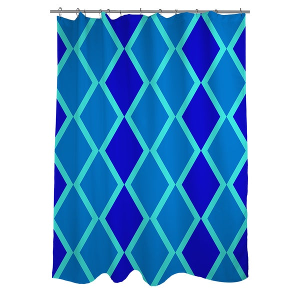 Shop Neon Party Blue Geo Pattern Shower Curtain