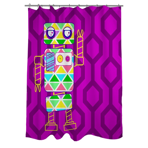 Shop Neon Party Fuchsia Robot Shower Curtain